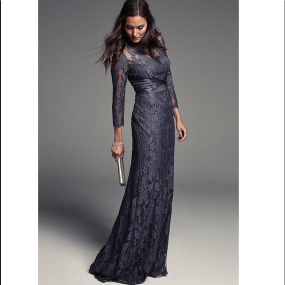 Adrianna Papell Gunmetal Grey Illusion Yoke Lace Gown 3//4 Sleeve NWT Many Sizes